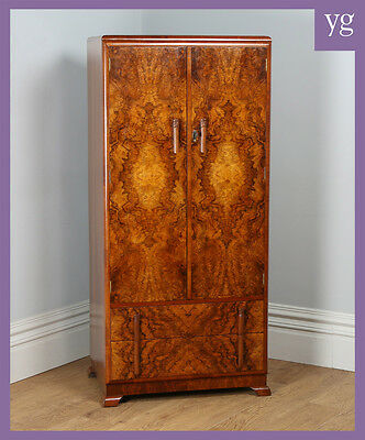Antique English Art Deco Burr Walnut Two Door Tallboy Compactum Wardrobe Armoire