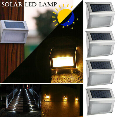 8X Outdoor Solar Powered LED Garden Stair Step Light Stainless Wall Pathway
