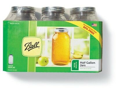 Ball 68100 Wide Mouth Mason Canning Jar, Half Gallon