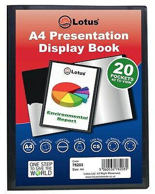 A4 BLACK 20/40/60 POCKET Pro. PRESENTATION DISPLAY BOOK FOLDER ecoeco Recycled