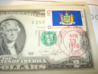 1976 $2 Two Dollar Bill - First Day of Issue Mantoowook. N.H. - Crisp Unc.