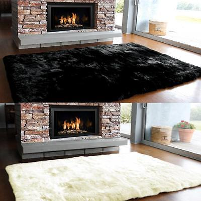 Acrylic Animal Hide Sheepskin Rug Soft Shaggy Plain Faux Fur Non Slip Rubber Mat