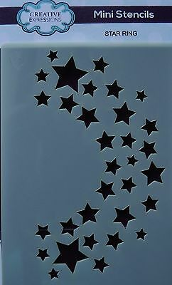 "Creative Expressions MINI Stencil template 4"" x 3"" Star Crescent Christmas"