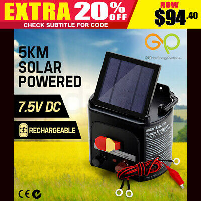G&P 5KM Solar Electric Fence Energiser Farm Rechargeable  7.5V DC Powered NEW