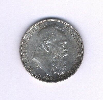 Germany Bavaria 1911  2 Mark Silver Coin, Uncirculated With Luster, Nice!!