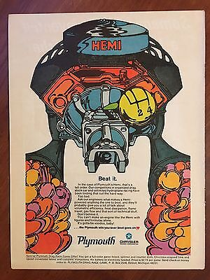 Vintage 1968 Original Print Ad PLYMOUTH HEMI ENGINE ~Psychedelic Art~ BEAT IT