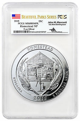 2015 Homestead 5 oz. Silver ATB Beautiful Parks PCGS MS69 DMPL Mercanti SKU46284