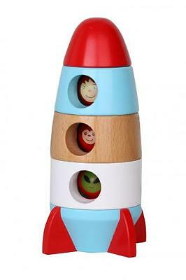 Discoveroo- Magnetic Rocket | Wooden Toy Rocket | Wood Rocket Stacker Toy