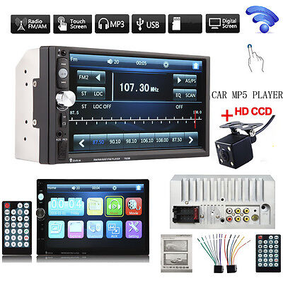 2DIN 7023B 7Inch LCD FM Radio Bluetooth Car Stereo MP5 Player +4X LED Car Camera