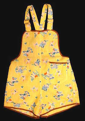 Vintage Sunsuit Yellow Cotton Bib Overall 1940 Adorable Elf Print Infant Size