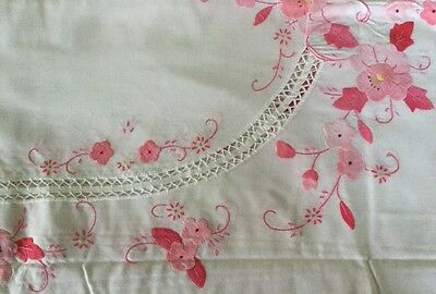 """NEW White Hand Embroidered Pink Rose Appliqué 66"""" X 102"""" Tablecloth"""