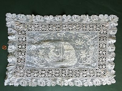 Vintage FIGURAL machine lace centerpiece pillow cover Lady in ship CUPIDS wings