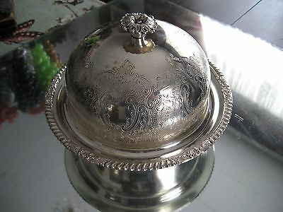 Antique Sheffield Complete Ornate Silver Plate Caviar  Butter Dish