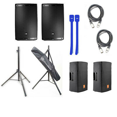 JBL EON615 15' 2-Way Speaker w/Tripod Stands, Covers,XLR Cables & Cable Ties NEW