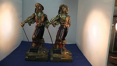 "Vintage Pair Armour Bronze Cold Painted Spelter Pirate 10 1/2"" Bookends"