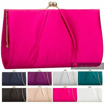 Ladies New Satin Pleated Kiss Lock Chain Strap Evening Party Handbag Purse
