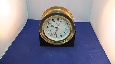 Vintage Chelsea Boston Ships Clock,brass, battery powered, with stand