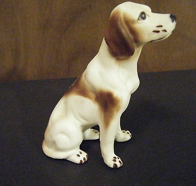 Vintage  Pointer Dog Figurine Bisque Bone China With Label