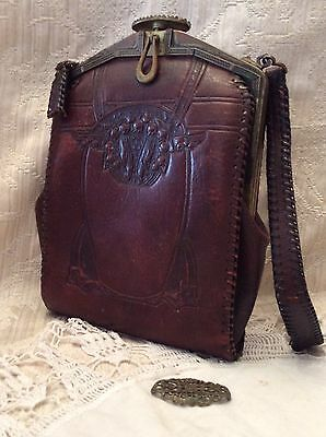 VINTAGE ANTIQUE HAND-TOOLED LEATHER PURSE --  EARLY 1900's - SUEDE LINING