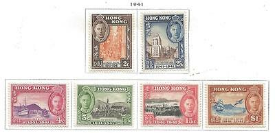 6 Hong Kong Stamps MLH Set Scott #168-173 from Old Album 1941