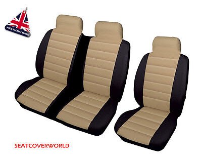 Ford Transit - Beige/black Leather Look Padded Van Seat Covers - Single + Double