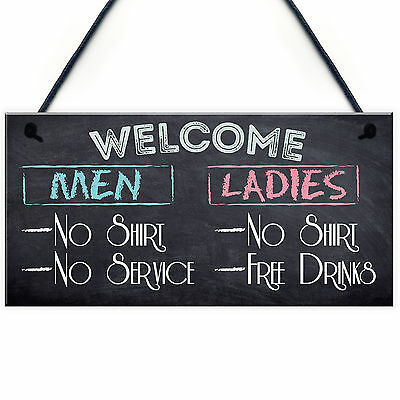 Welcome No Shirt Free Drinks Hanging Plaque Man Cave Gift Funny Pub Bar Sign New
