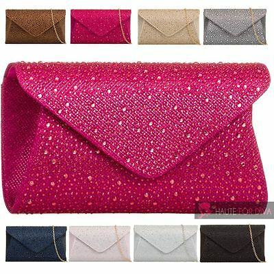 New Womens Envelope Diamante Embellishment Chain Strap Party Clutch Bag