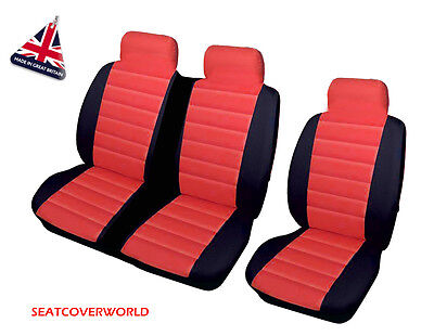 Vw Crafter - Red/black Leather Look Padded Van Seat Covers -Single + Double