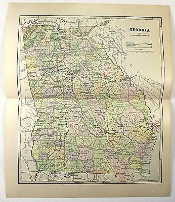 Original 1882 Map of Georgia by Phillips & Hunt