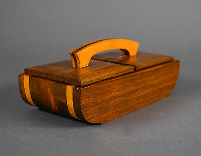 Vintage  Mid Century Modern Decorative Double-Lid Joined Wood Box