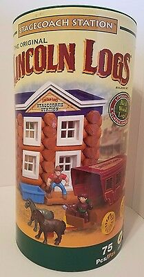 NEW Stage Coach Station Original Lincoln Logs Real Wood 00939 Vintage 75 PIECES