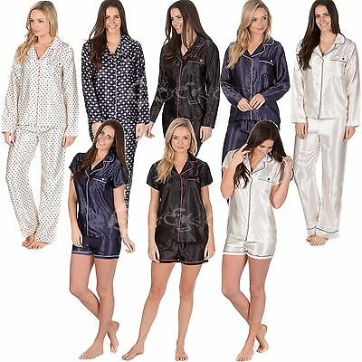 Ladies Satin Silk Pyjama Set Long /Short Sleeve Sizes 8-22 Silky Nightwear Pjs