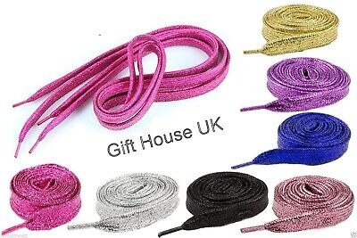 Glitter Wide Shoelaces Metallic Color Fancy Dress Party Funky Sparkly Laces B3