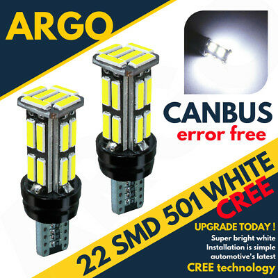 X2 T10 22 Smd Led Canbus Error Free Large Sidelights Xenon White Ultra Bright