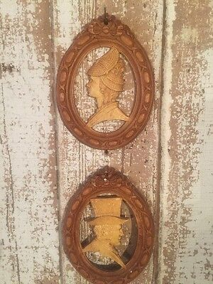Lot of 2 Silhouettes of Victorian Lady and Gentleman!  Nice!