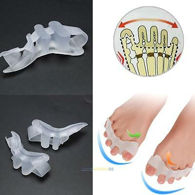 2Pcs Silicone Gel Toe Straightener Separator Bunion Corrector Pain Relief NEW