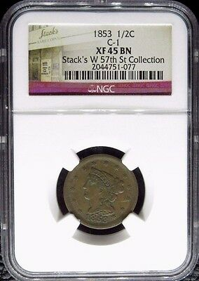 1853 Braided Hair Half Cent 1/2C Ngc Certified Xf 45 Bn Extra Fine Brown (077)