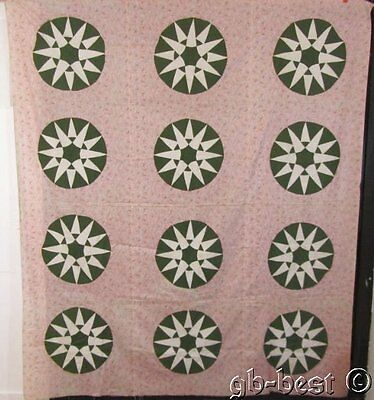 Antique c 1880/90s Mariner's Compass Quilt Top Green CONVERSATION Print