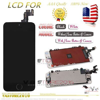 For iPhone 5S LCD Touch Screen Digitizer Replacement + Home Button + Camera US