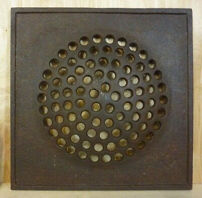 "Old Cast Iron Bubble Architectural Hardware Decorative Art 12"" Grate Cover Plate"