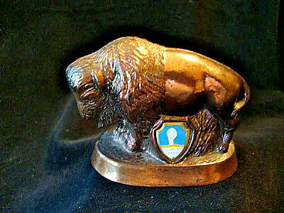 Vintage Bison Souvenir From Yellowstone, Wyoming, With Additional Bison Buddy