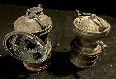 Set Of 2 Vintage Brass Coal Miners Lamp Auto Lite Primitive Mining Tool Light