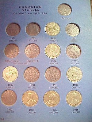 Canadian Canada Nickel Set 1924 - 1960 33 Different in Old Whitman Book 33 Coins
