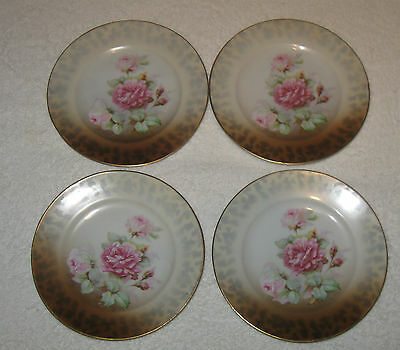 Antique/Vintage Set 4 German Altenburg Hand Painted China Plates Red Roses - 6""