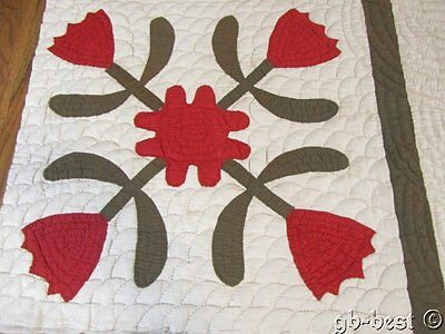 """Antique c 1870s Whig Rose Applique QUILT pc RED green 25"""" x 19""""frame pillow"""
