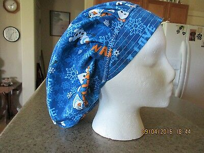 Frozen Olaf With Warm Hugs On A Bouffant Surgical Nurses Scrub Hat, Chemo, Chef