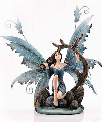 Fairy Kneeling by Pond Blue - Legends of Avalon Figurine