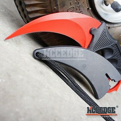 RED TACTICAL COMBAT KARAMBIT RAZOR KNIFE Survival Hunting BOWIE Fix Blade CSGO