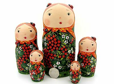 Genuine Russian 5 stacking dolls MATT Black Red Babushka KHOKHLOMA Kulakhmetov