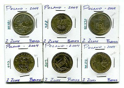 Poland : Lot of 6 different 2004 Uncirculated 2 Zlote coins